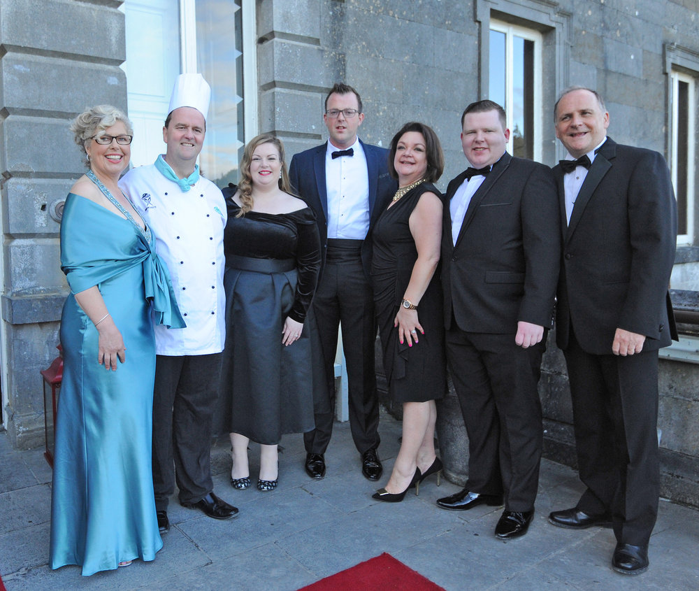 Some Westport Food Festival committee members enjoying 2017's flagship banquet at Wesport House. From left: Lesley Emerson, Eoin McDonnell, Siobhan Foody, Barney Clarke, Sinead Lambert Barosso, Stephen Rogers and Declan Heneghan.