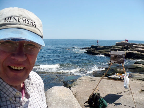 "Will Kirkpatrick with his signature ""selfie picture"" while plein air painting. Some argue that he may have even created the selfie—we will never know!"