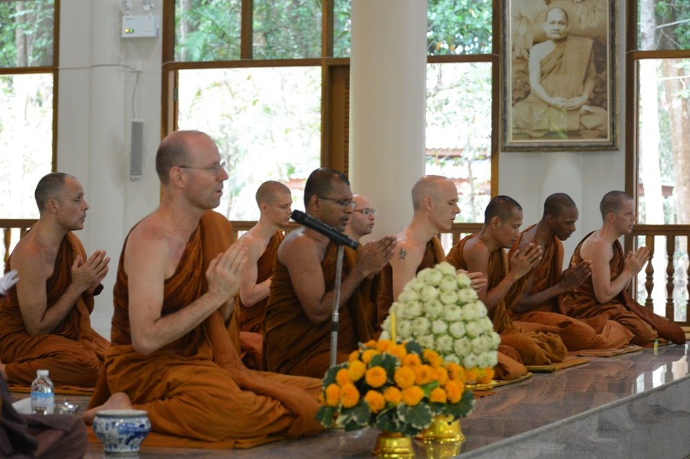 In the main Sala the monks and novices give a new years blessing.