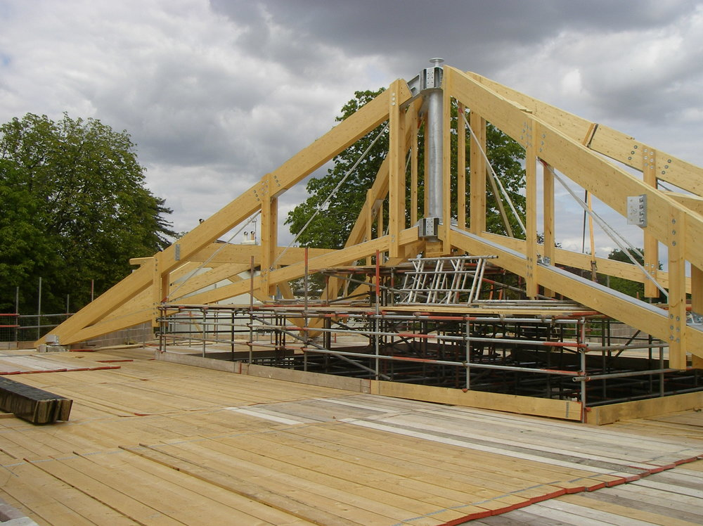 Construction of trussed roof over worship area