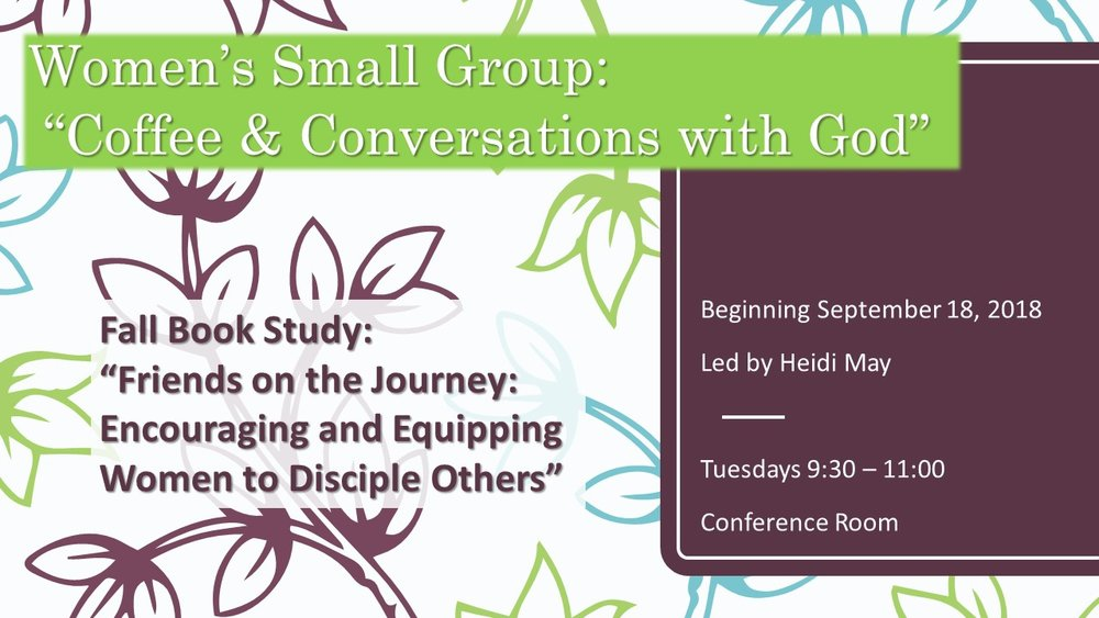 Women's Small Group - Our purpose: To build relationships with each other and with Jesus; and to serve the community around us through Cornerstone, Rockville Hospital and Senegal to name a few!Contact the church office for more details