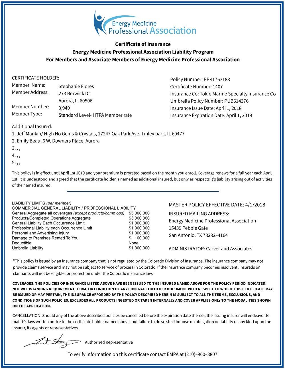 Liability Certificate Of Insurance Blue Crystal Waterfall Healing