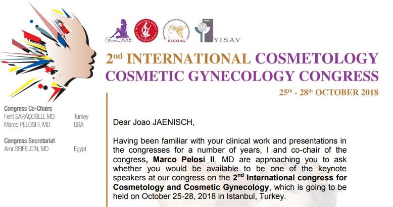 2nd International Cosmetology Cosmetic Gynecology Congress - Istanbul / Turquia (Outubro 2018).