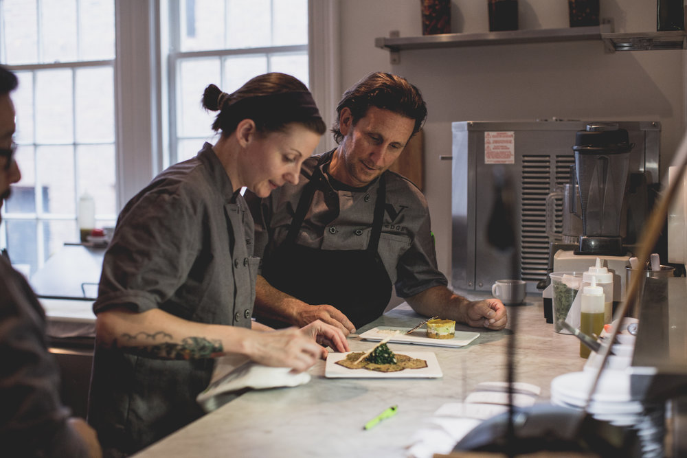 Vedge Kitchen Manager Valerie McCarro with Chef Rich Landau