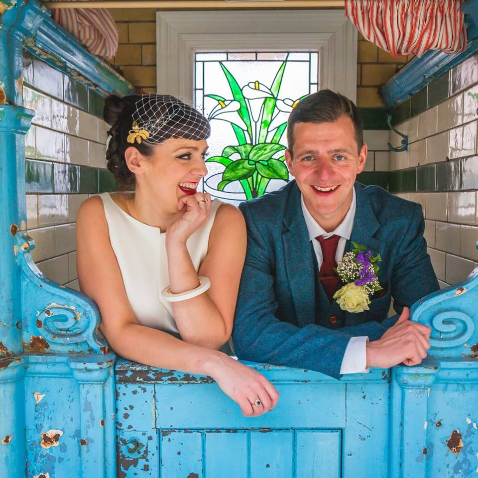 Helen and her hubby at their fab vintage wedding venue -
