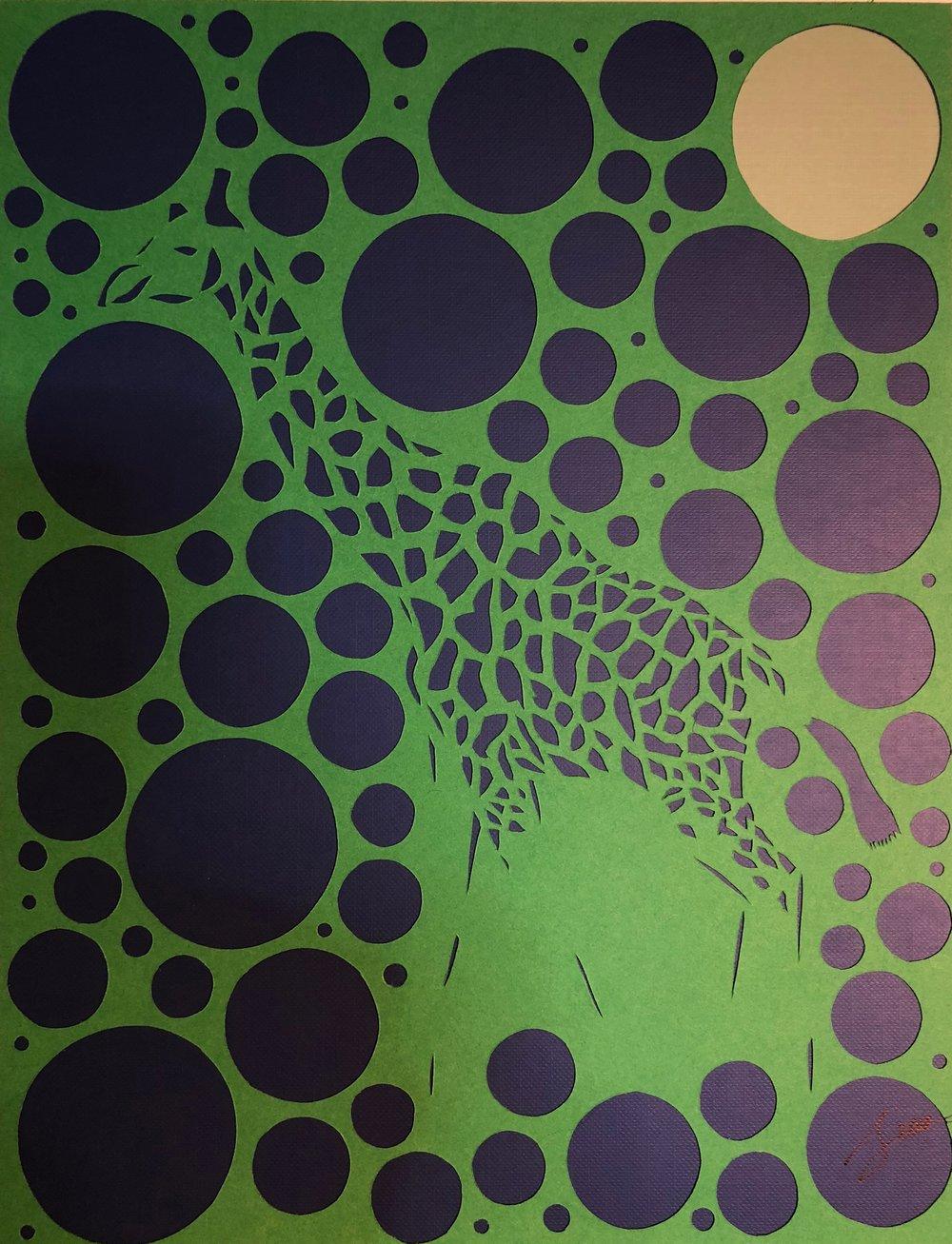 Giraffe in green