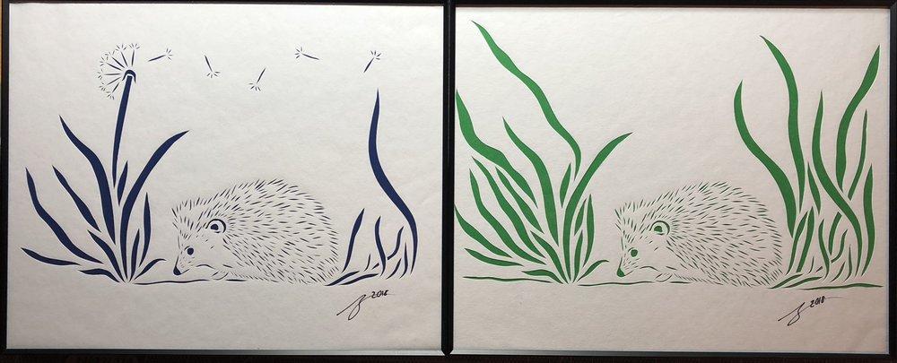 Hedgehog with Dandelion, Hedgehog in Grass