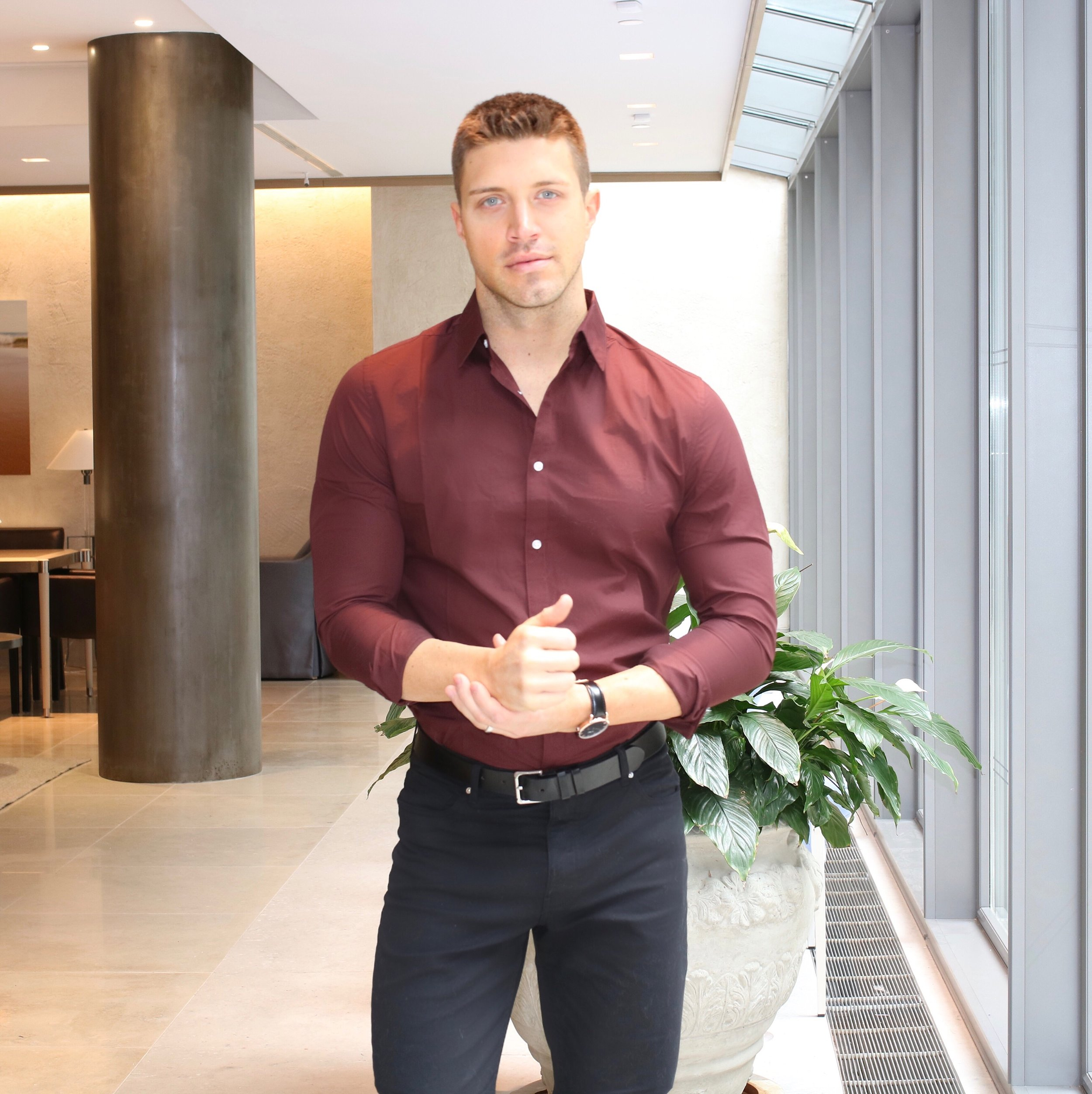What color dress shirt with black pants