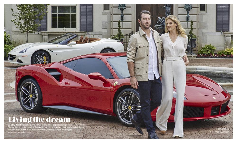 Kate  Upton & Justin Verlander standing red ferrari, Ferrari Magazine  JPEG .jpg