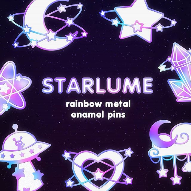 ✨ Starlume updates! ✨ I knew this was gonna completely wreck my feed so I prepared some graphics in advance to kinda salvage it.. 😂🙏 RIGHT, SO!! Our current status is: - three pins unlocked: Moon, Crystal, Heart; - next pin: Alien, and we're halfway there! Only £200 more to go!; - early bird discount slots: all except a single slot for 6 pins are gone; (MIGHT open up in case of dropouts, has happened with my last pin series!) 🌟🌟🌟 It's been going real well but the initial hype has slowed down now, and of course Insta is killing my engagement at the worst of times lol :') So please make sure you share the project with your friends and family - I really wanna reach the last two goals so I could include more freebies for everyone ;U; 🙏💕 + #hatpin #kawaii #pingame #lapelpin #enamelpin #pinpost #patchgame #pingameproper #pinoftheday #enamelpins #pinkaesthetic #pinaddict #badge #pingamestrong #pinks #flair #pincollection #lapelpins #galaxy #pincollector #pinlife #art #pins #fashion #pin #design #pincommunity #kawaiiart #kawaiiaesthetic #etsy