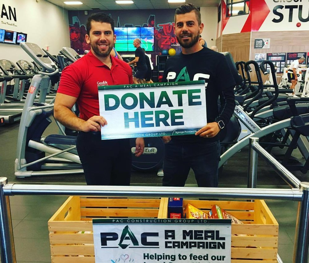"General Manager Brandon Gassi And GoodLife Fitness Sault Ste. Marie Participating In The ""PAC A Meal"" Campaign."