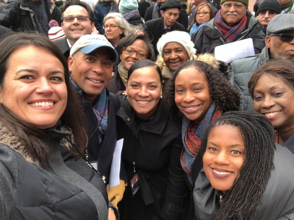 Rachael with At-Large City Councilor Annissa Essaibi George, Former Governor Deval Patrick, Boston City Council President Andrea Campbell, and East Boston City Councilor Lydia Edwards at the 50th Anniversary of MLK.
