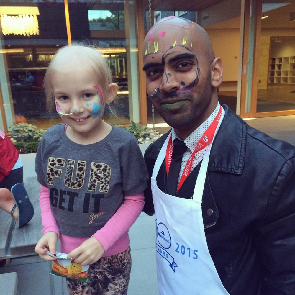 - A day of fingerpainting at BC Children's Hospital (faces make great canvases).