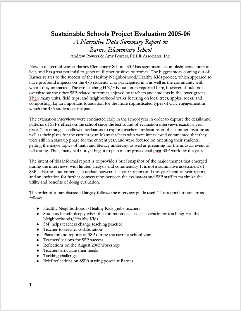 Narrative Data Summary Reports - Sometimes the most efficient format for a deliverable can be a simple presentation of all evaluation activities, data, and findings.