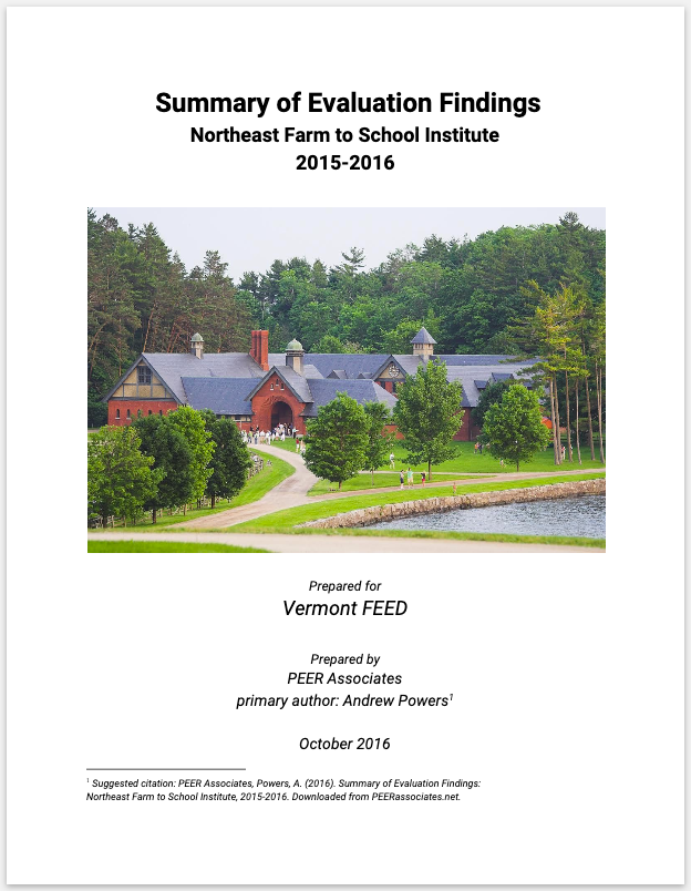 Shelburne Farms - Evaluated multiple years of Farm to School (FTS) institutes, supported Vermont statewide census of FTS programming, including FTS student outcomes