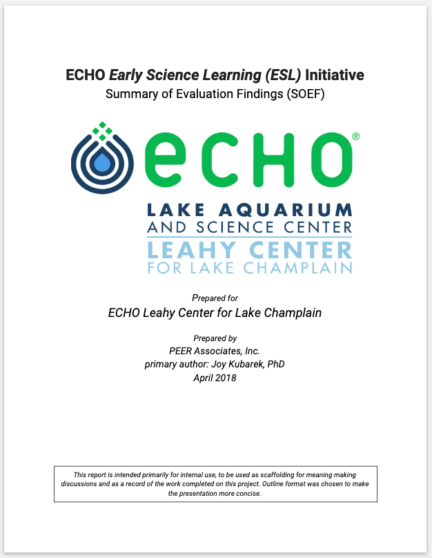 ECHO Leahy Science Center - Formative and summative evaluation of IMLS-funded Early Science Learning educator workshops