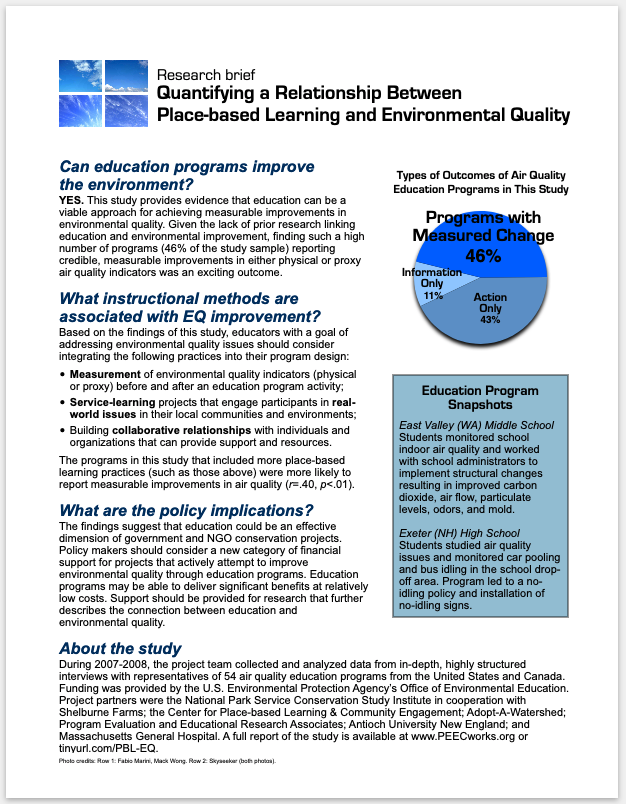US Environmental Protection Agency - Conducted and published national research to quantify a relationship between place-based education and environmental quality