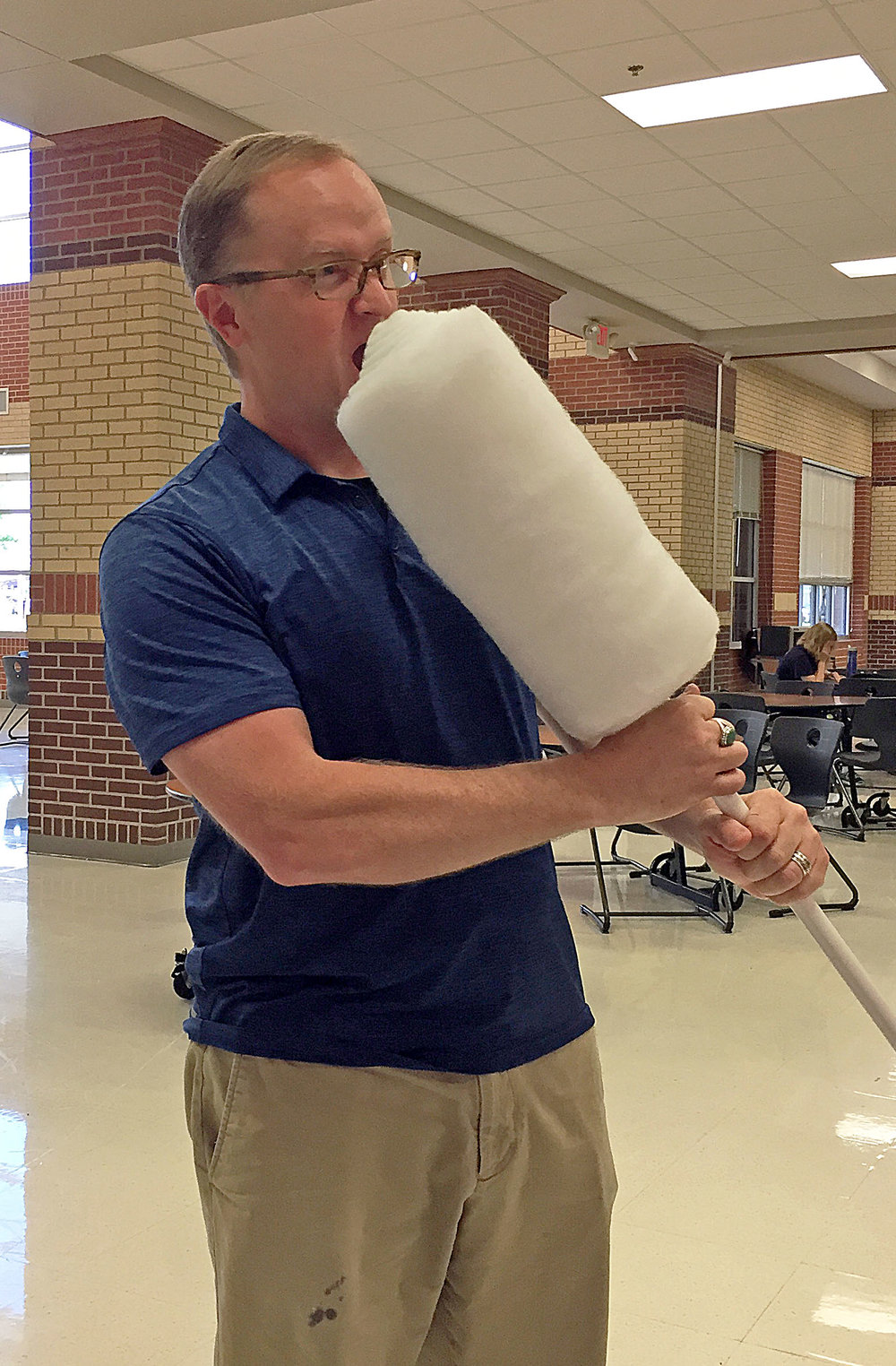 Lovejoy HS teacher Ray Cooper with the 'super swab'. (Photo provided by Kyle Herrema.)