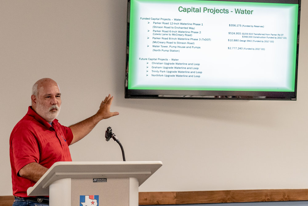 City Engineer Stanton Forester reviews current and future water projects.