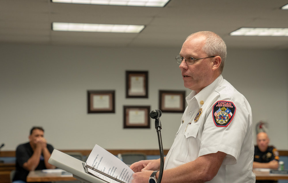1. Lucas Fire Chief Ted Stephens briefs the City Council on safety and access concerns for emergency responder vehicles