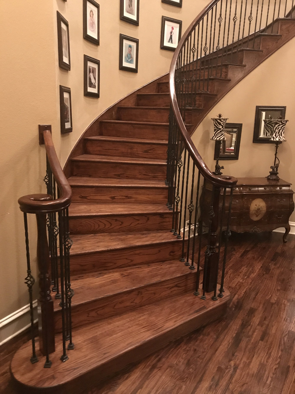 A Fairview home in which Montalvo Remodeling redid this staircase, installed floors and painted.