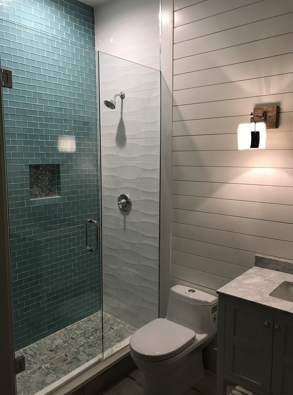 Montalvo Remodeling remodeled four bathrooms in this Fairview home.