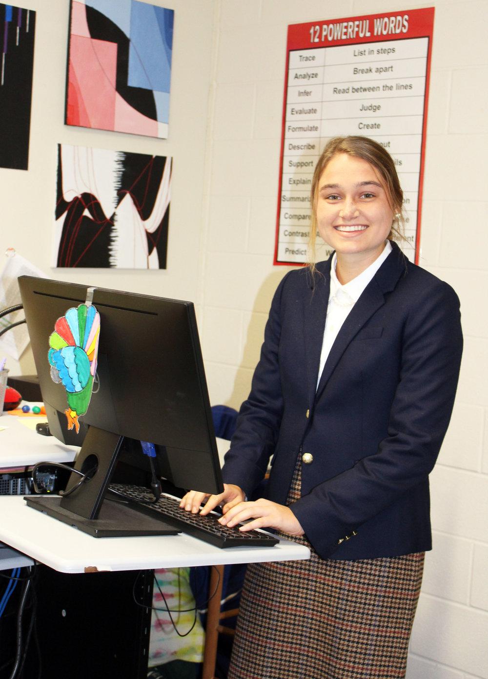 Lizzie Weichel during her senior project presentation.