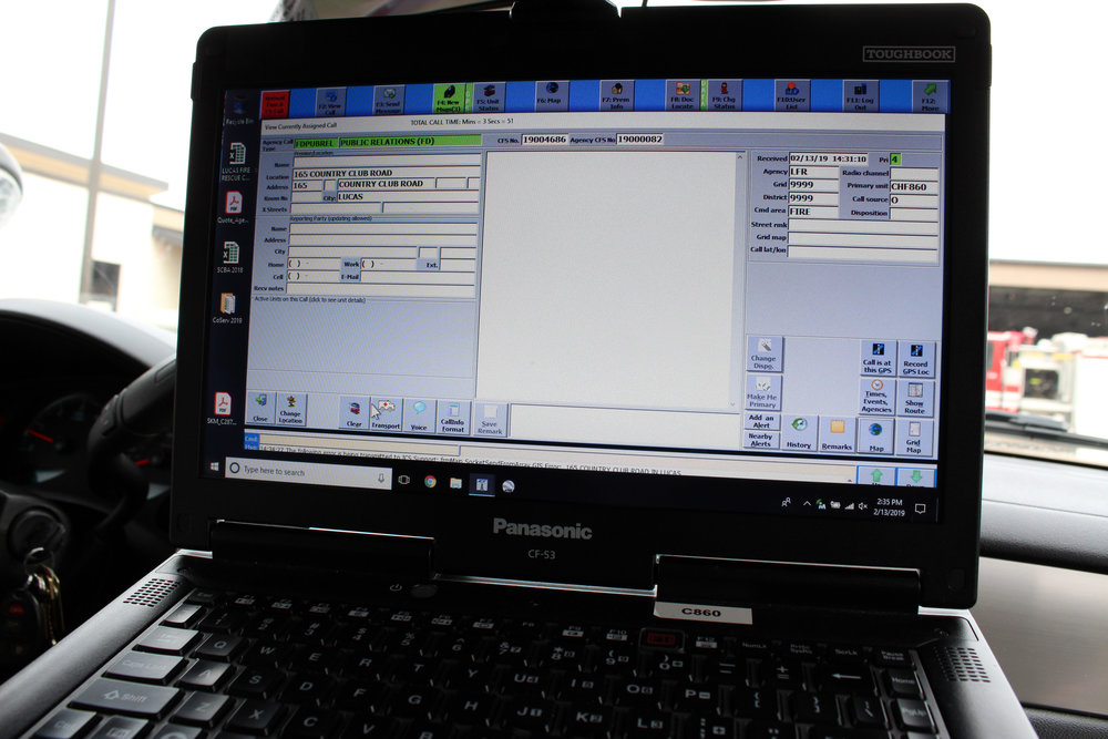 """Lucas Fire's new Computer-Aided Dispatch software """"Integrated Computer Systems"""" allows them to communicate in real-time with Wylie Dispatch at the touch of a button."""