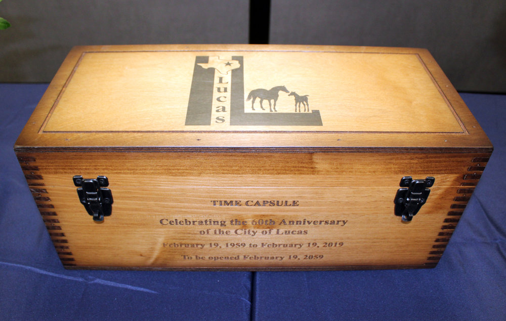 The time capsule will be opened on Feb. 19, 2059, which will be the 100th anniversary of the city of Lucas.