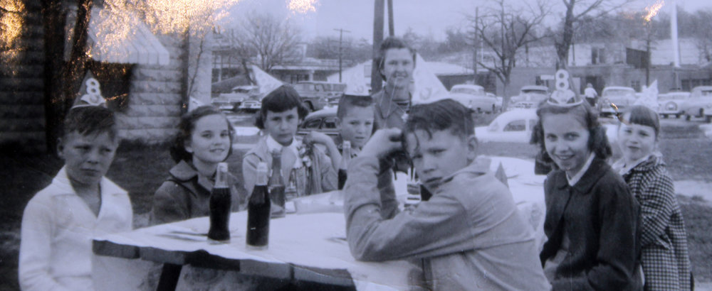 Students who Billy McDonald (standing) taught attended daughter Debby's birthday party held at the Dallas Zoo in Mar. of 1957.