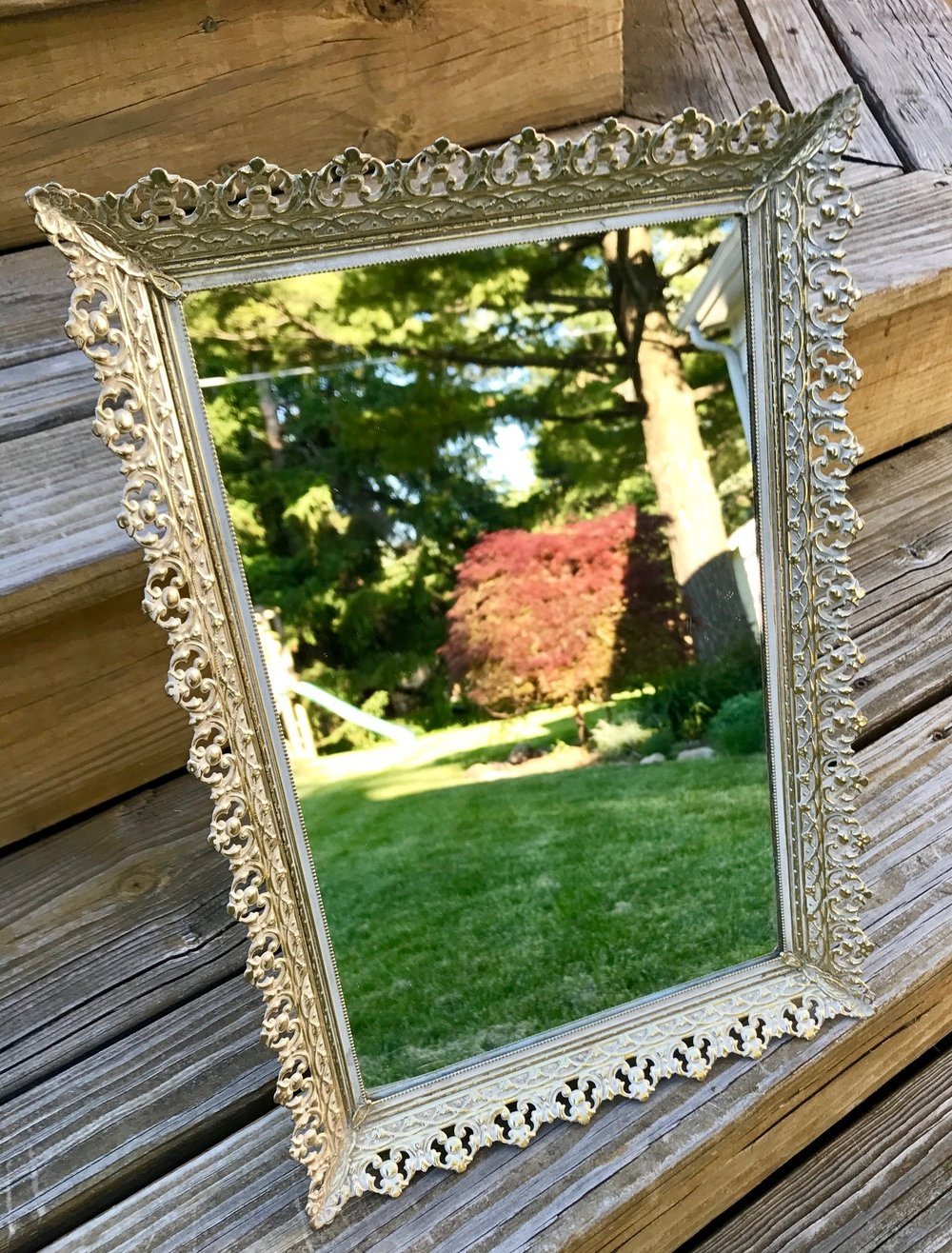 Gold Table Top Mirror - .5ft W x 1ft H
