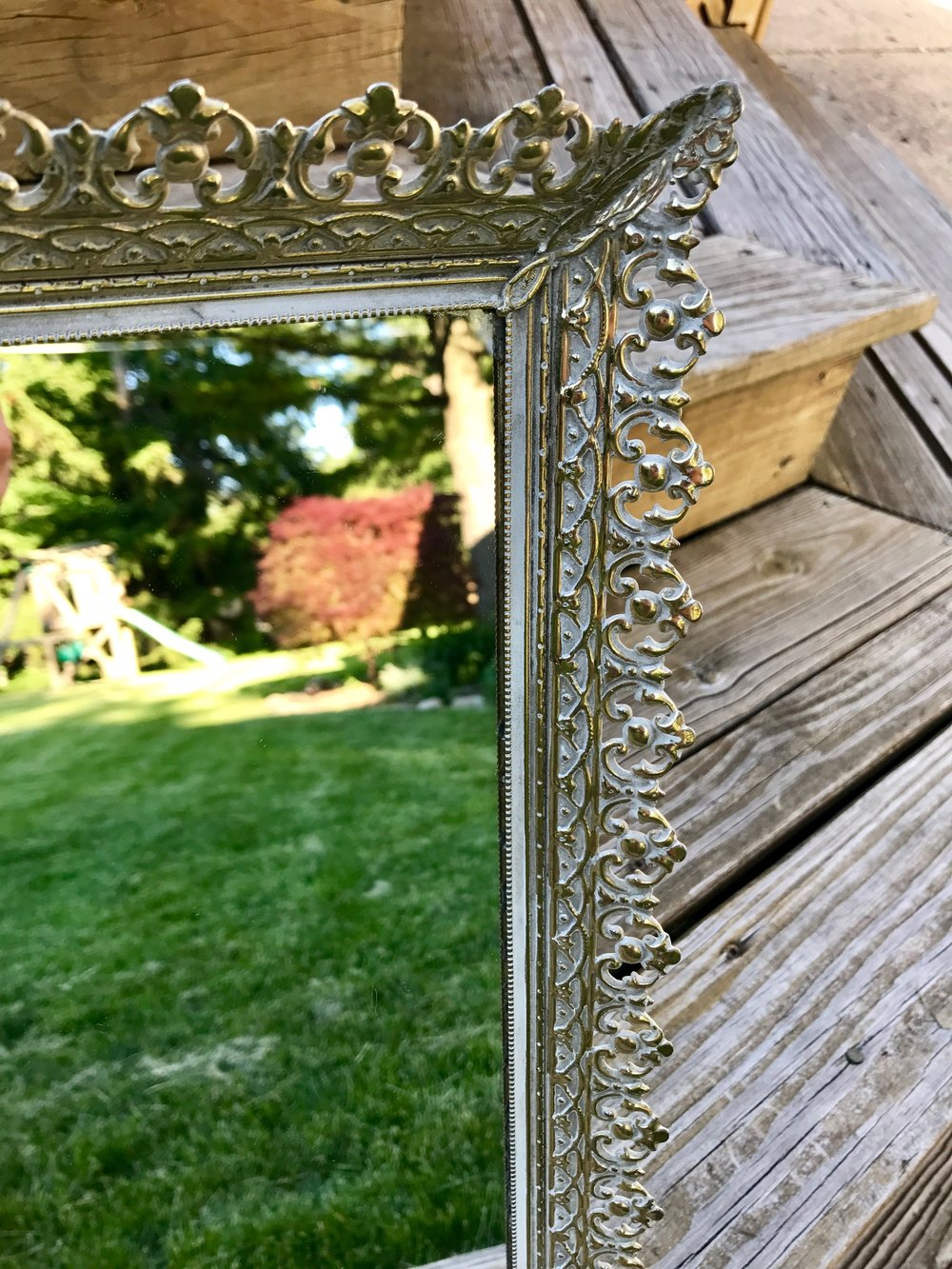 Gold Table Top Mirror - Close Up