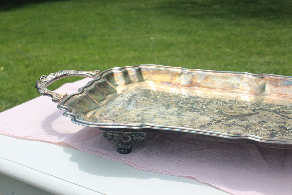 Large Antiqued Tray with feet - CloseUp