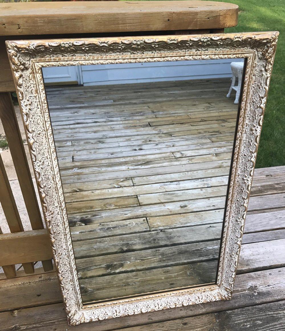 Gold / White Wash Mirror - 1.5ft W x 2.5ft H