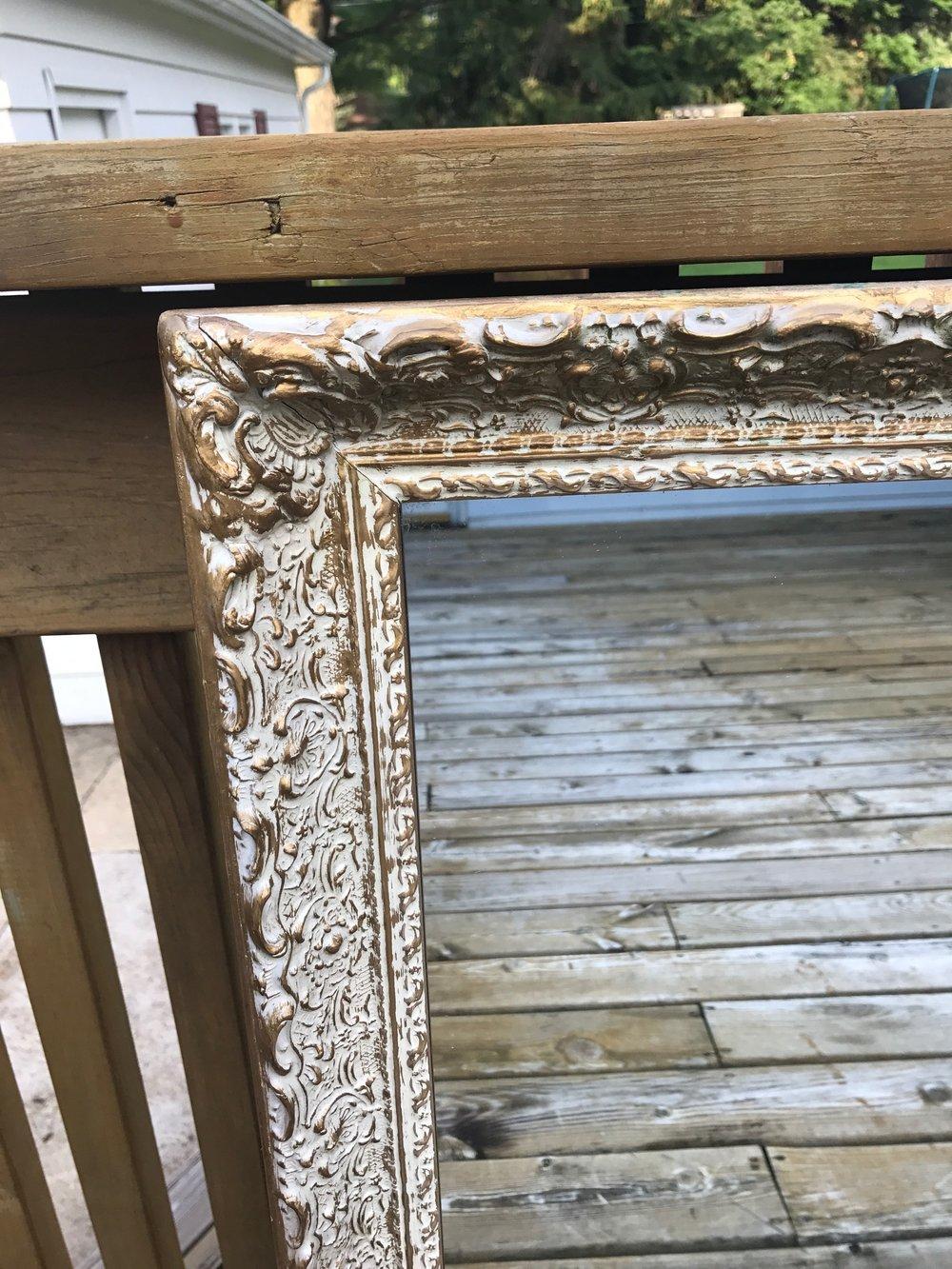 Gold / White Wash Mirror - Close Up