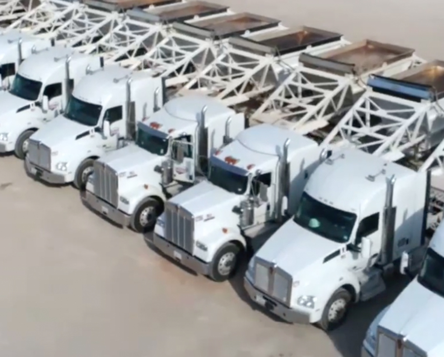 bird's eye view of Brown Transportation's large fleet of trucks
