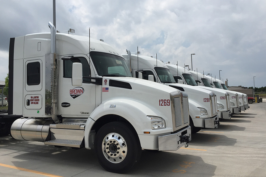 Brown Transportation's large fleet of well-maintained trucks