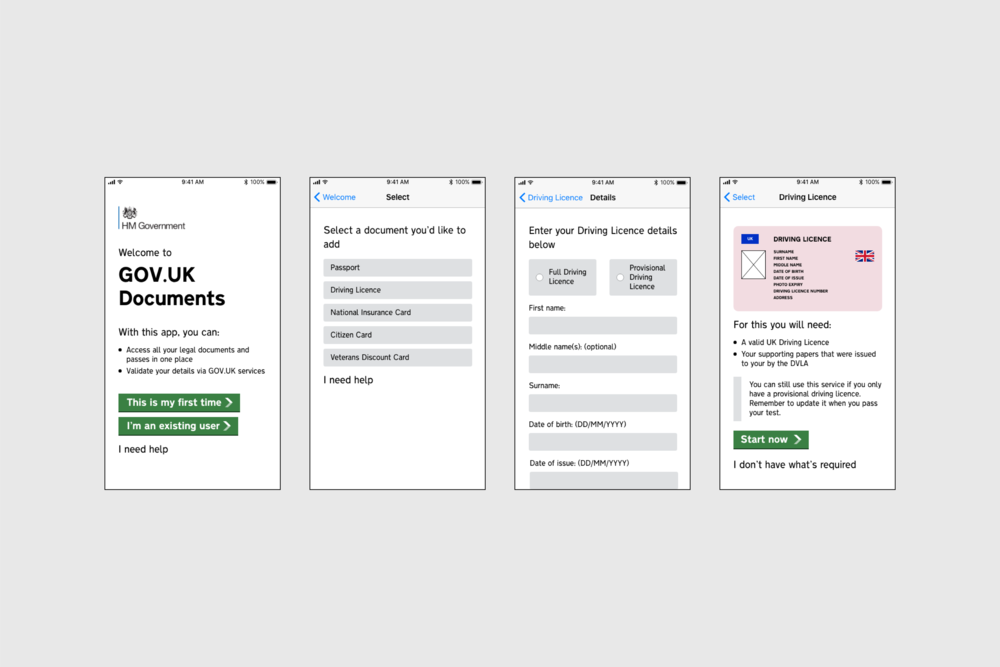 Screenshots from the first iteration of GOV.UK Documents