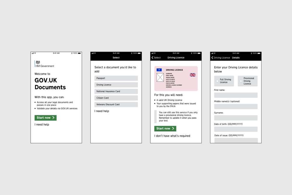 Screenshots from the second iteration of GOV.UK Documents