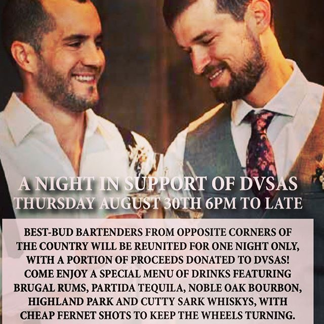 Tomorrow night, bar manager Brendan and his BFF Chris Faber (Lot No. 3, Bellevue; Save Me The Waltz, Asheville NC) will team up to serve a menu of special cocktails, with a portion of proceeds benefiting @dvsas of Whatcom County! Come join us for a night of great drinks, for an excellent cause!