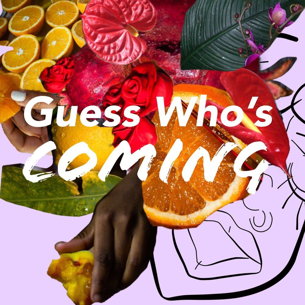 """- Guess Who's Coming is a QPOC-run podcast where I interview folx and talk about all things s*x, dating, and relationships while enjoying a good meal with guests. The purpose of this show is to promote sexual health and wellness while also giving a voice to marginalized communities (women, nonbinary folx, persons of color, LGBTQIA+, etc.). Guess Who's Coming will simultaneously provide humor and education as we talk about those things you """"shouldn't talk about at the dinner table"""".Also available on Spotify, Simplecast, and more soon!Artwork by Amal D. (@youcandoithabibi)"""