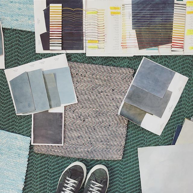Choices, choices! I visited @_avoavo_ 's studio to pick colors for a woven leather rug. Such an inspiring workspace, thanks for having me!