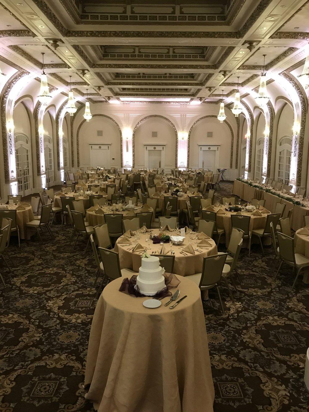 Indoor Neutral colored wedding uplighting
