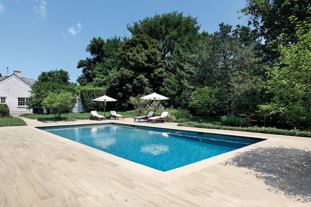 Wood tile is so durable it can be used as a pool deck!