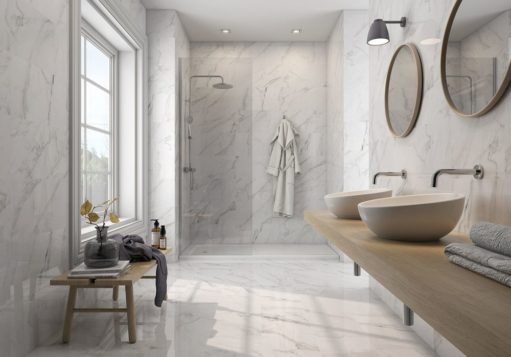 bathrooms - The right tile can make any bathroom an elegant and relaxing part of the home. Floor to ceiling tiling creates a clean modern feel.