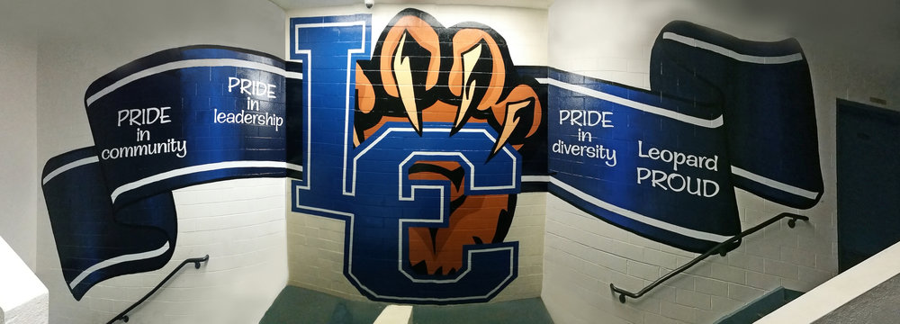 HAND PAINTED SCHOOL MURAL - Los Cerritos Middle School, Thousand Oaks CA