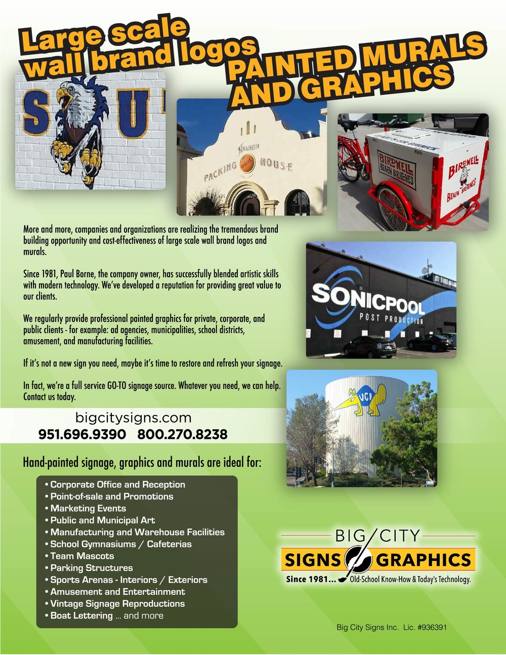 BIG CITY SIGNS PAINTED GRAPHICS BROCHURE