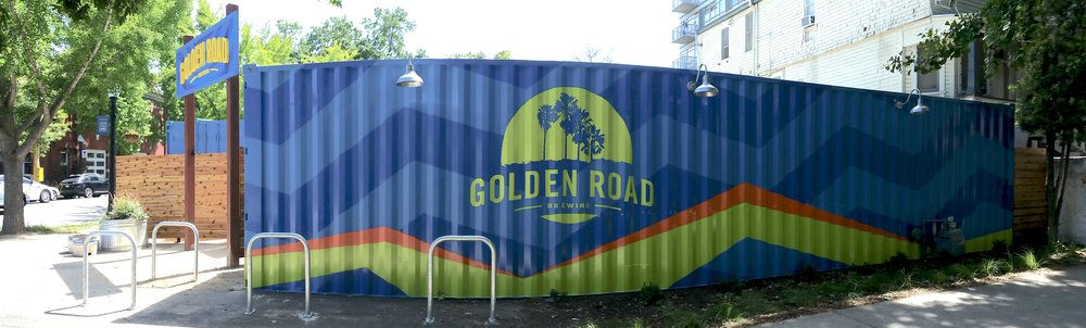 Golden Road Brewing Sacramento - hand painted graphics on shipping containers
