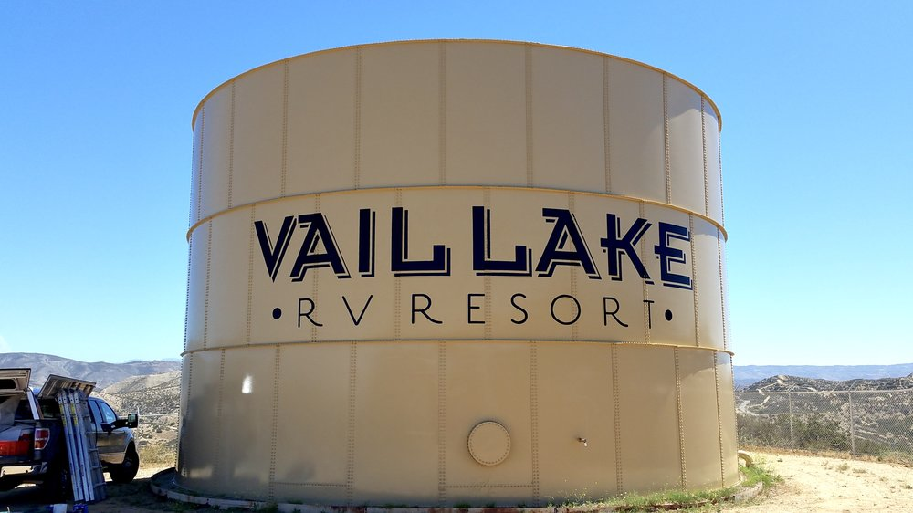 Vail Lake RV Resort hand painted water tank graphic mural