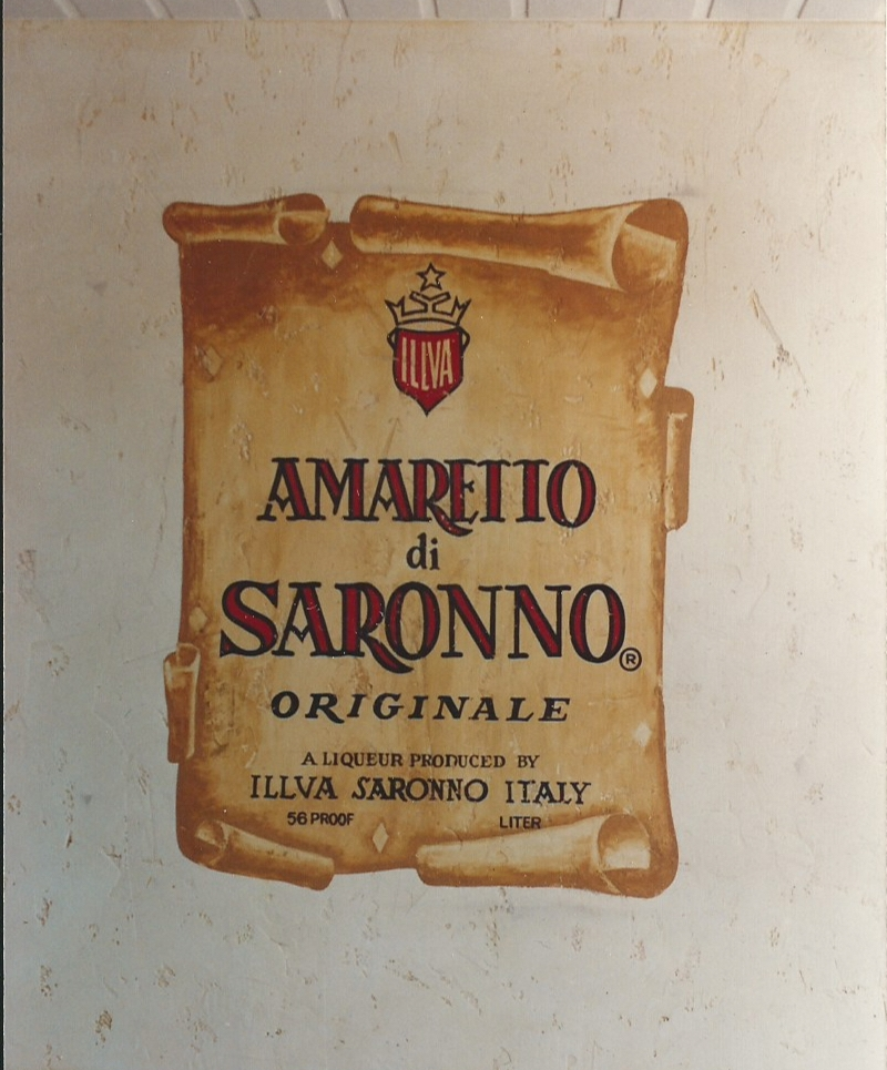 Hand painted Amaretto label mural